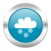 picture of barometer  - snowing internet blue icon - JPG