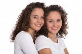 image of identical twin girls  - Real twin sisters - JPG