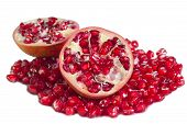 foto of pomegranate  - Pomegranate or Punica granatum on isolated white background - JPG