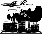image of raid  - Woodcut style expressionist image of a bomber aircraft dropping bombs on a factory - JPG