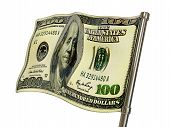 pic of barrel racing  - green dollar flag on white background isolated - JPG