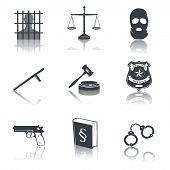 picture of jail  - Law legal justice judge and legislation black icons set with gavel court jail isolated vector illustration - JPG