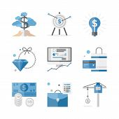 image of economics  - Flat icons set of financial investment for development business project economic analysis of finance growth - JPG