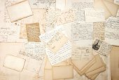 stock photo of nostalgic  - old letters handwritings and vintage postcards - JPG