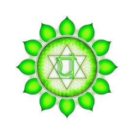 image of tantra  - Illustration of a green heart chakra mandala - JPG