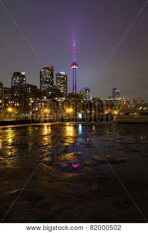 Cn Tower And Buildings In The Winter