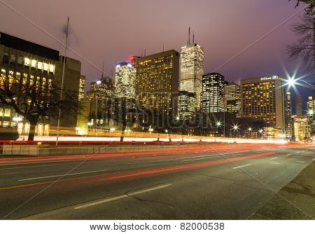 University Avenue In Toronto At Night