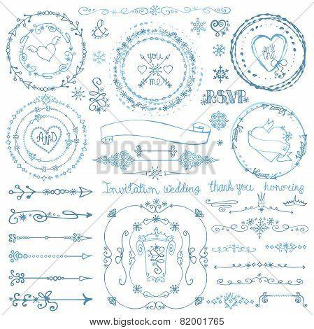 Winter doodle decor set.Wreath,Frame,Border,ribbon.Hand drawn