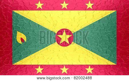 Grenada flag on metallic metal texture