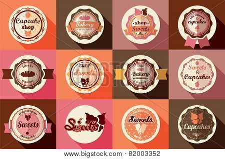 Collection Of Vintage Retro Ice Cream And Cupcake Labels, Stickers, Badges And Ribbons