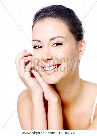 Happy Woman's Face With Clean Skin