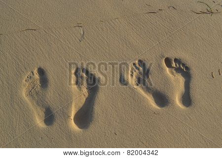 Footprints in the sand islands in the Caribbean