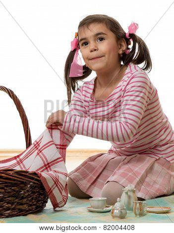Girl Playing Picnic