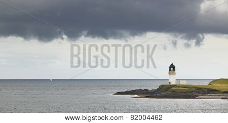 Scottish Landscape With Ocean And Lighthouse. Lewis Isle. Uk