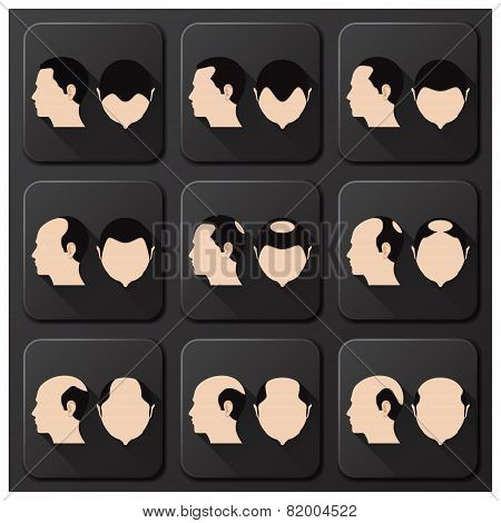 Bald Head Hair Style Character Icon Set Collection