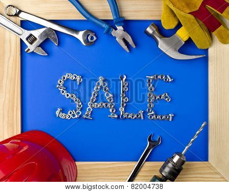 Tools And Helmet In A Wooden Frame -- Sale