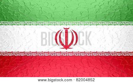 Iran flag on metallic metal texture