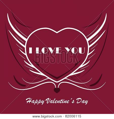 Valentines background with heart and angel wings