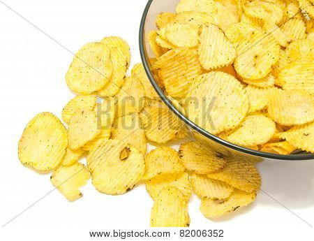 Many Ruffles Potato Chips Closeup