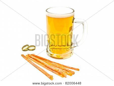 Glass Of Beer And Fish Snack