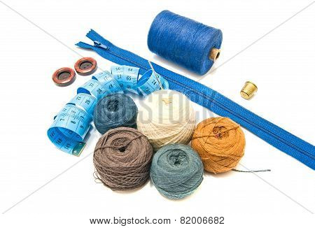 Blue Meter And Balls Of Yarn