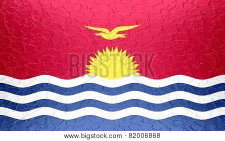 Kiribati flag on metallic metal texture