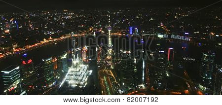 An Aerial Night Scene Of Shanghai, China