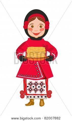Girl In  National Clothes  With Pancakes. A Shrovetide (Maslenitsa).