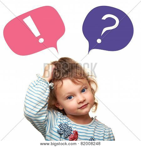 Thinking Cute Small Kid Girl With Question And Exclamation Signs In Bubbles