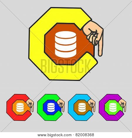 Hard Disk And Database Sign Icon. Flash Drive Stick Symbol. Set Colourful Buttons. Vector