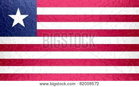 Liberia flag on metallic metal texture