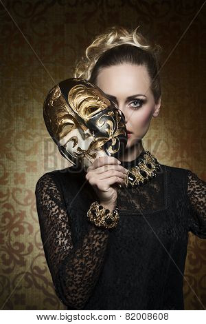 Antique Lady With Gothic Mask