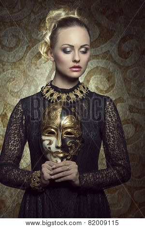 Girl With Dark Baroque Mask