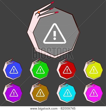 Attention Caution Sign Icon. Exclamation Mark. Hazard Warning Symbol. Set Colourful Buttons Vector