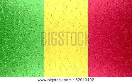 Mali flag on metallic metal texture