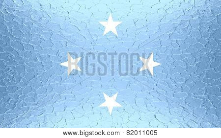 Flag of Federated States of Micronesia on metallic metal texture