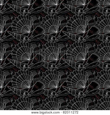 Seashells Seamless Pattern. Black