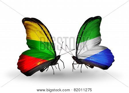 Two Butterflies With Flags On Wings As Symbol Of Relations Lithuania And Sierra Leone