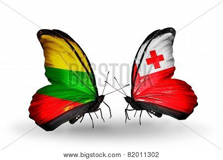 Two Butterflies With Flags On Wings As Symbol Of Relations Lithuania And Tonga