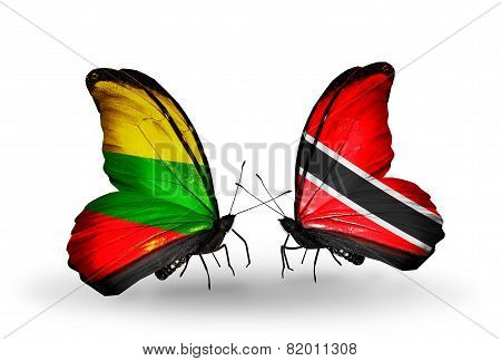 Two Butterflies With Flags On Wings As Symbol Of Relations Lithuania And Trinidad And Tobago