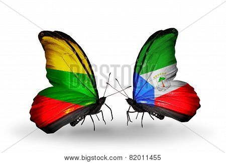 Two Butterflies With Flags On Wings As Symbol Of Relations Lithuania And Equatorial Guinea