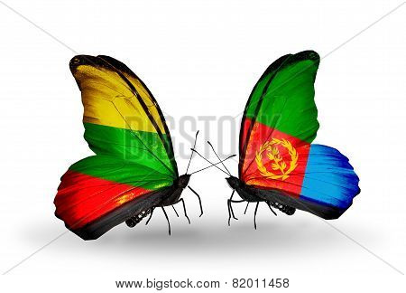 Two Butterflies With Flags On Wings As Symbol Of Relations Lithuania And Eritrea