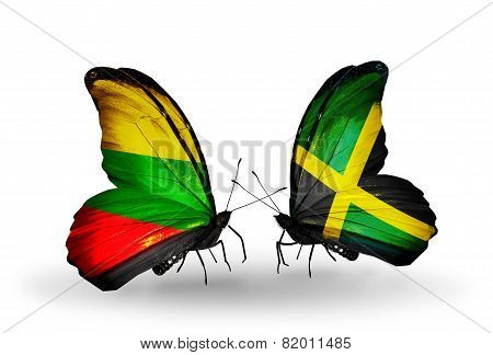 Two Butterflies With Flags On Wings As Symbol Of Relations Lithuania And Jamaica