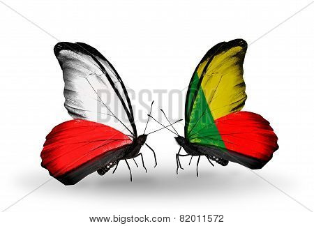 Two Butterflies With Flags On Wings As Symbol Of Relations Poland And Benin