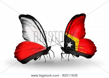 Two Butterflies With Flags On Wings As Symbol Of Relations Poland And East Timor