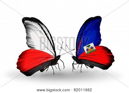Two Butterflies With Flags On Wings As Symbol Of Relations Poland And Haiti