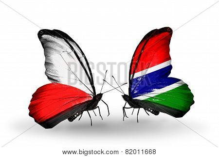 Two Butterflies With Flags On Wings As Symbol Of Relations Poland And Gambia