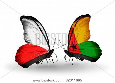 Two Butterflies With Flags On Wings As Symbol Of Relations Poland And Guinea Bissau