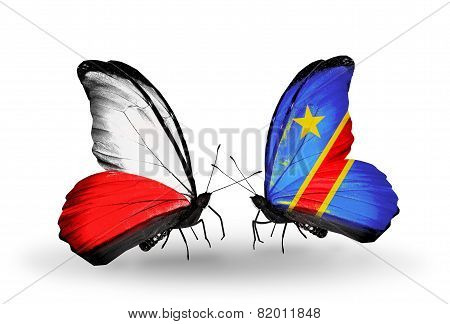 Two Butterflies With Flags On Wings As Symbol Of Relations Poland And Kongo