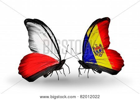 Two Butterflies With Flags On Wings As Symbol Of Relations Poland And Moldova
